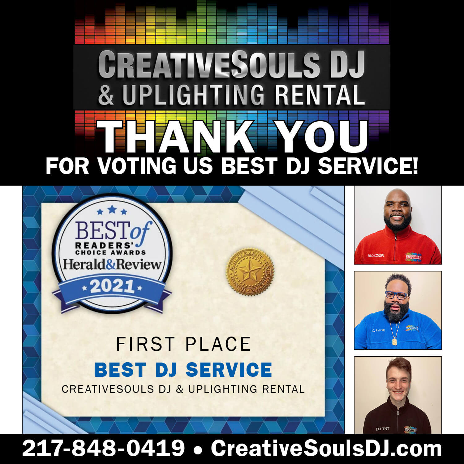Creative Souls DJ & Uplighting Rental Thank you for voting us Best DJ Service! First Place Best DJ Service from Best of Readers' Choice Awards Herald & Review 2021
